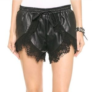 StyleStalker Only With You Leather & Lace Shorts